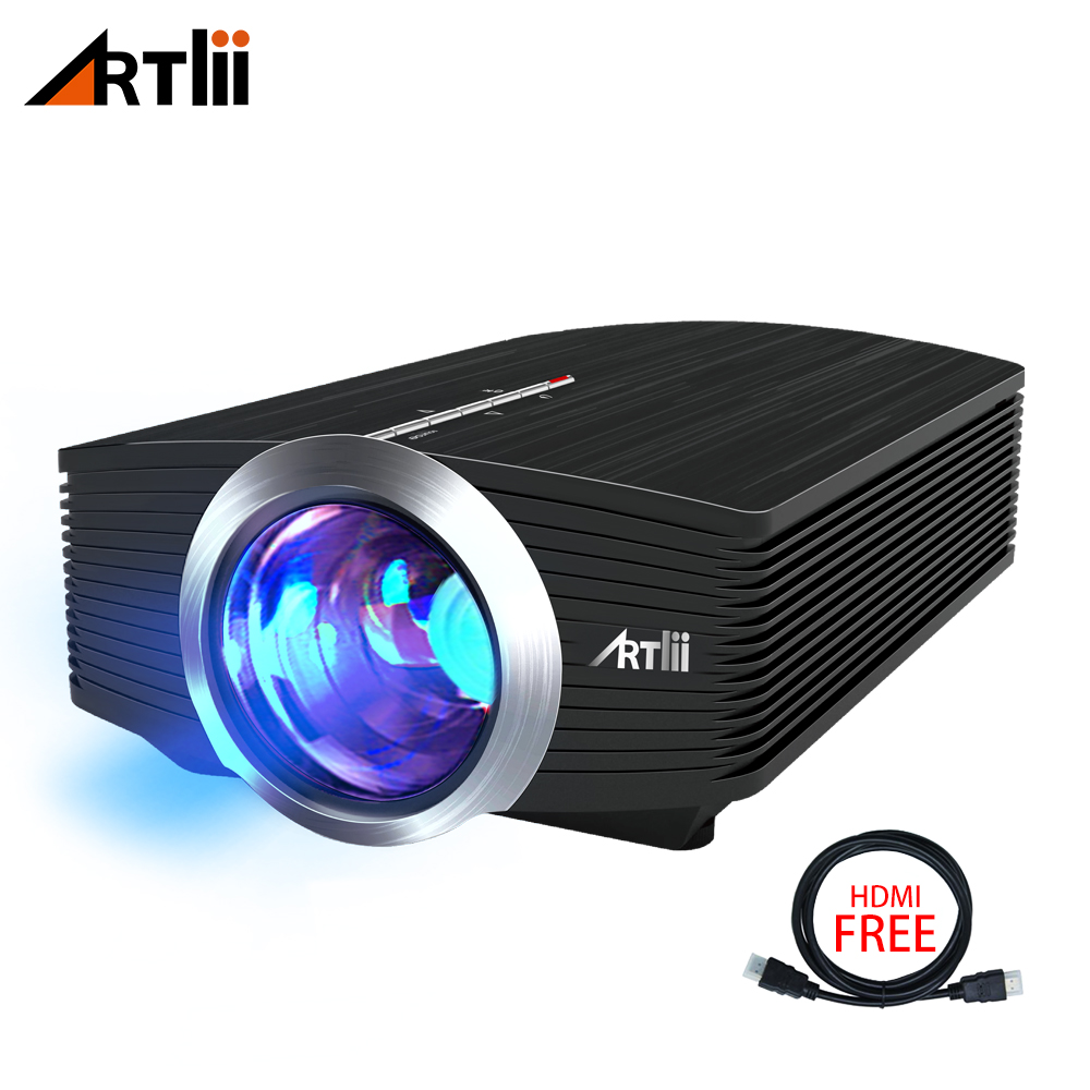 Mini Portable LED Video Projectors Artlii 1600 Lumens with Stereo Speaker for Gaming Parties Home Cinema Theater Projector