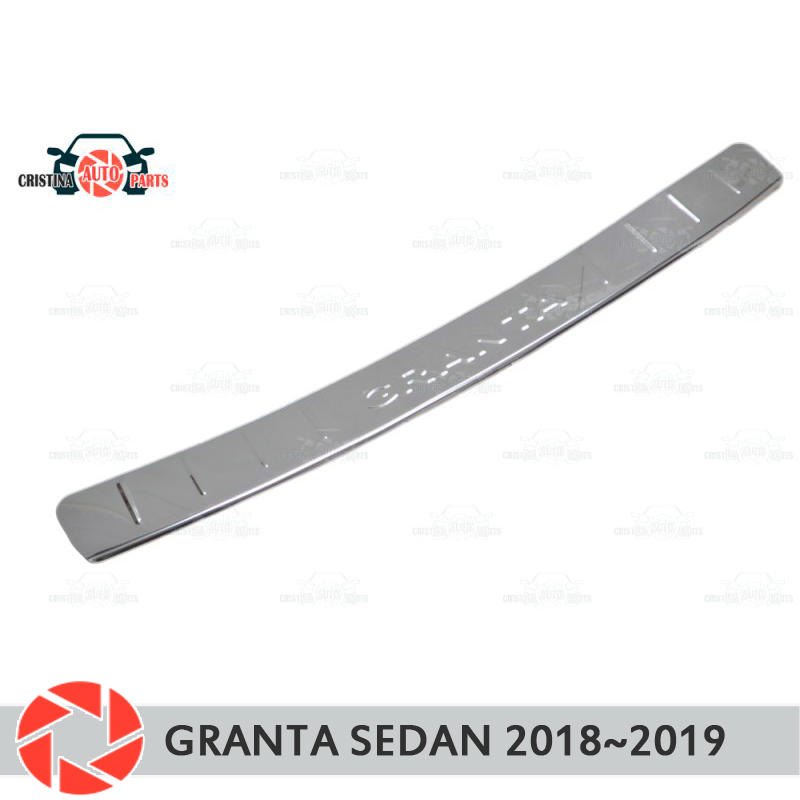 Plate cover rear bumper for Lada Granta Sedan 2018~2019 guard protection plate car styling decoration accessories molding stamp s25 1156 ba15s p21w car led light bulb 13 smd 5050 brake rear turn signal light bulb leds lamp 12v white red car styling