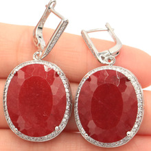 Big 17.5g Oval Gemstone 22x18mm Real Red Ruby White Cubic Zirconia Womans Party Silver Earrings 40x20mm