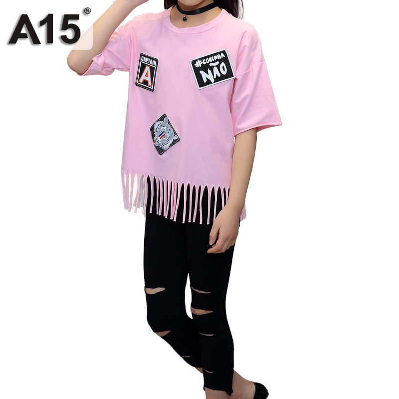 A15 Brand Fashion Summer Clothes for Teenage Girls 2 Pieces Set Pink T Shirt Kids Ripped Pants Outfit for Size 6 8 10 12 14 Year