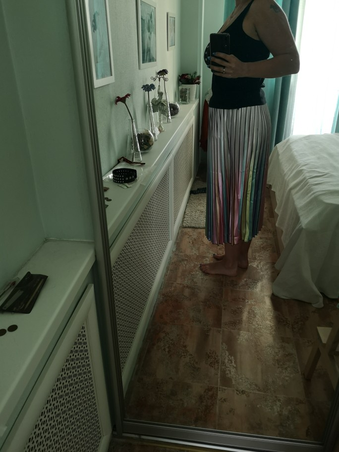 Spring New Coming Women Skirts Rainbow Striped A Line Mid Calf Skirts High Street European Style High Quality Skirts photo review