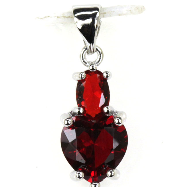 SheCrown Heart Shape Red Blood Ruby Gift For Girls Silver Pendant 23x8mm