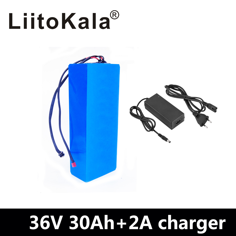 LiitoKala 36V 30AH lithium battery 36v 30ah battery for electric bicycle use 3.7V 3000mah samsung cell with 30A BMS+42V Charger