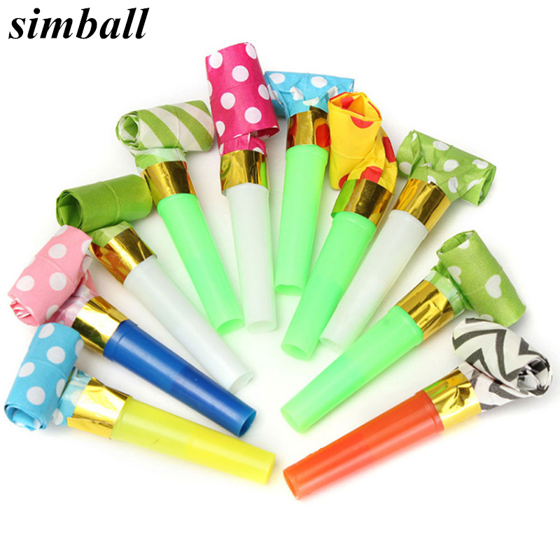 10pcs/set Multicolor Party Blowouts Whistles Kids Birthday Party Favors Decoration Supplies Noice Maker Toys Goody Bags Pinata