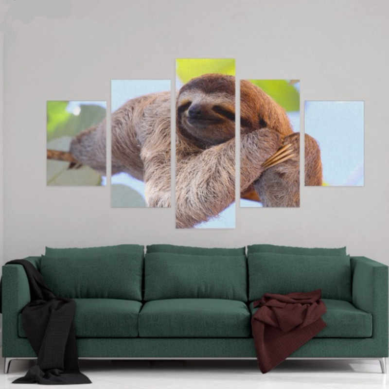 Canvas HD Prints Posters Home Decor Wall Art 5 Pieces Sloth Hung In The Tree Paintings Large Pictures Living Room Framework