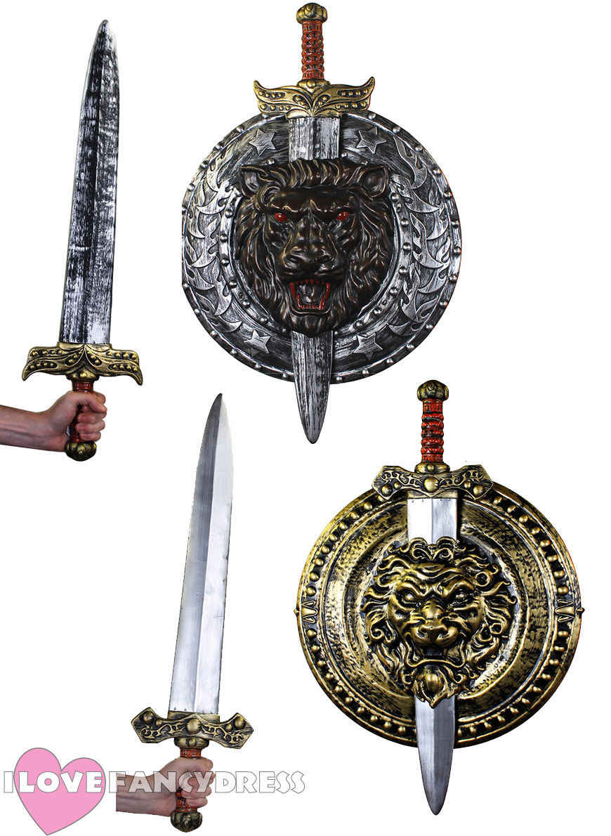 Boys Girls Knights Sword Shield Fancy Dress Costume Outfit Accessory Weapon Set
