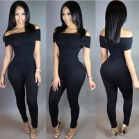 YSMARKET Bodycon Ruffle Jumpsuit Romper Skinny Sporting One Piece Sexy Off Shoulder Jumpsuits For Women 2017