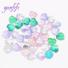 Heart Shape Fish Scale Flat Resin Drill, Patch Mermaid Plating AB Color rhinestones