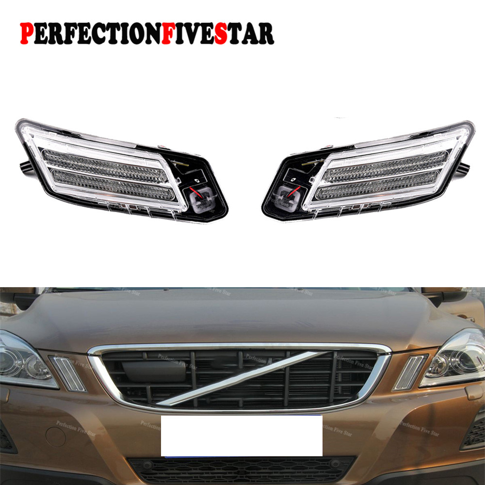 30784164 30784165 For Volvo XC60 2008 2009 2010 2011 2012 2013 Left Right Pair Front LED Marker Turn Signal Indicator Light Lamp
