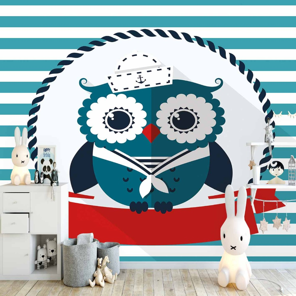 Else Blue Lines Red Stripes Sailor Owl Animal 3d Print Cartoon Cleanable Fabric Mural Kids Children Room Background Wallpaper