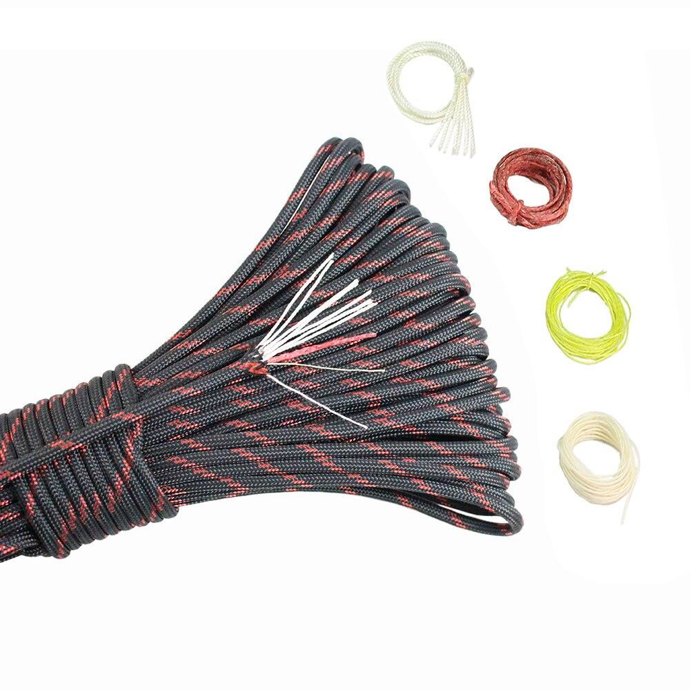 PSKOOK 100 50 20FT Paracord 550 7 + 3 hebras de nailon EDC fuego Paracord rojo encerado Lino línea de pesca de algodón hilo de supervivencia cuerdas