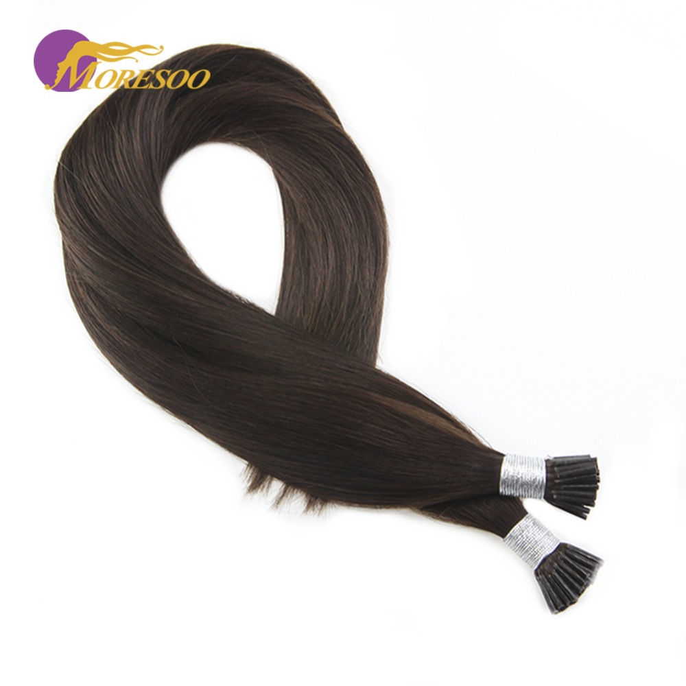 Moresoo Machine Remy Keratin Human Hair Color Brown #2 I Tip Fusion Hair Extensions 50strands/pack 1g/s 16-24 Inch