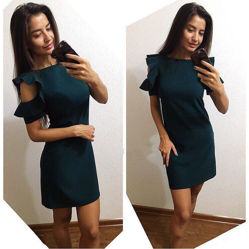 Women Short sleeve Sweet Office Mini dress 2018 New Summer Ruffles Beach Casual Loose Party Club Purple Green dresses Vestidos