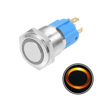 UXCELL 1PCS Momentary Metal Push Button Switch 16mm Mounting Dia 3A 1NO 1NC 12/24V Blue Red Yellow LED Light 16mm stainless led color yellow power mark momentary 1no 1nc pushbutton switch pin ip67 ul 3v 6v 12v 24v 110v 220v