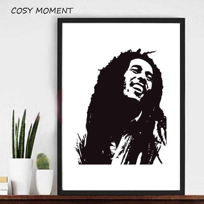 Nyaman Saat Morden Hitam Putih Poster Bob Marley Nostalgia Lama Reggae Rock Poster Gambar Abstrak Kanvas Lukisan Dinding Dekorasi Aliexpress