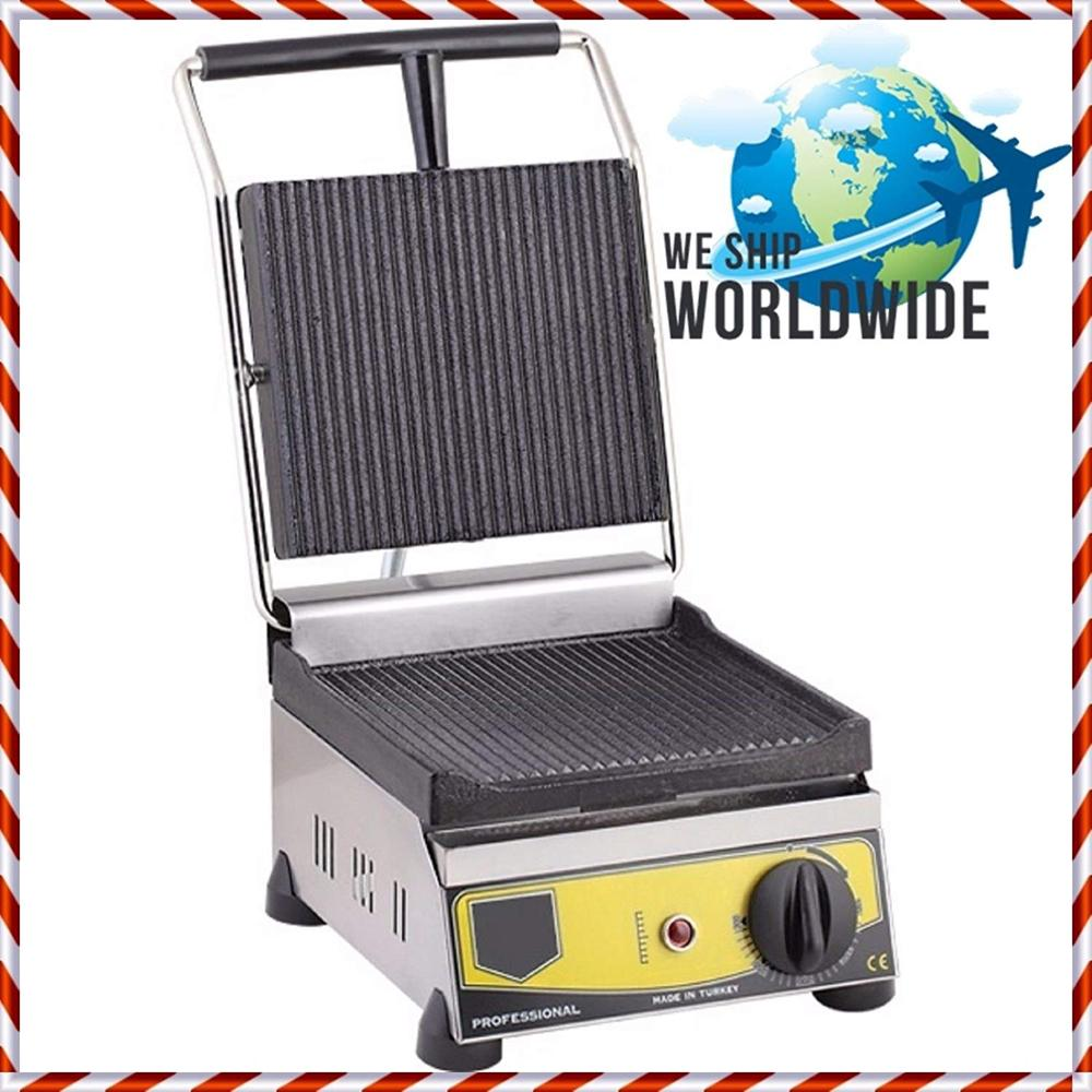 Non-Stick CAST IRON GROOVED ELECTRIC Restaurant Cafe Breakfast Panini Press Grill Toaster Sandwich Griddle Maker Machine 220V image