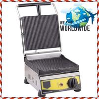Non Stick CAST IRON GROOVED ELECTRIC Restaurant Cafe Breakfast Panini Press Grill Toaster Sandwich Griddle Maker Machine 220V