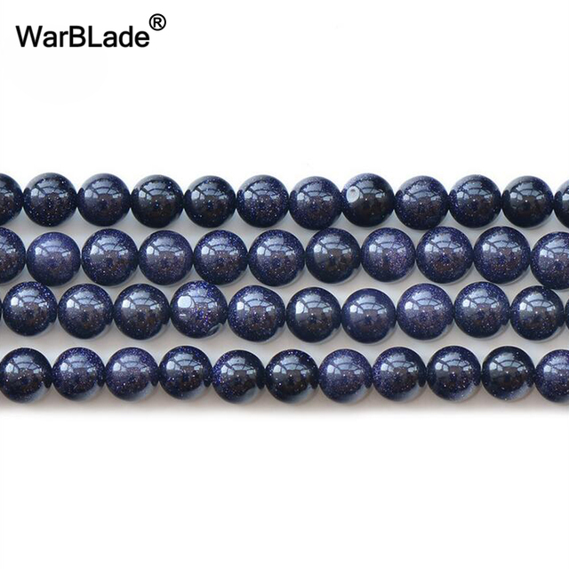 Warblade Natural Stone Blue Sand Beads Round Sunstone Loose 6mm 8mm 10mm 12mm