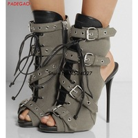 Fashion Summer Women Boots Buckle Strap Lace Up High Heel Short Sandals Boot Stiletto Heel Ladies Shoes