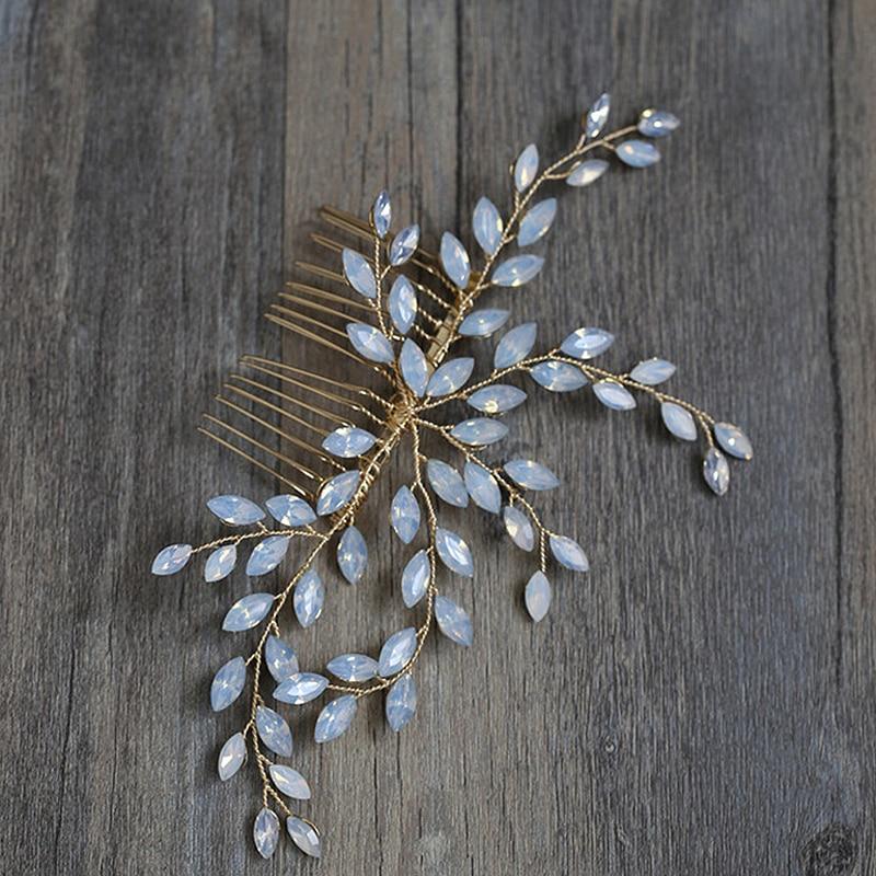 Combs Hair-Vine Bride-Head-Piece Rhinestone Crystal Wedding-Hair Women Accessories Floral