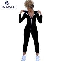 HAHASOLE Jumpsuit Women Fitness Clothing Zipper Yoga 2018 Solid Black One Piece Sport Suit Running Yoga Set Bodysuits HWA2270 4