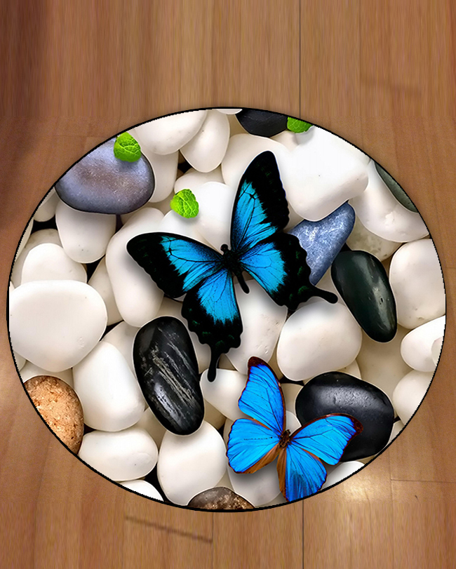 Else Gray Black White Stones On Blue Butterfly 3d Pattern Print Anti Slip Back Round Carpets Area Rug For Living Rooms Bathroom