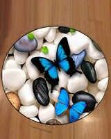 Sonst Grau Schwarz Weiß Steine auf Blau Schmetterling 3d Muster Druck Anti Slip Zurück Runde Teppiche Bereich Teppich Für Wohnzimmer zimmer Bad