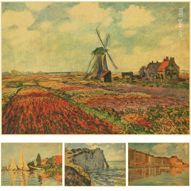 Van gogh monet impressionist masterpiece Landscape painting posters ...