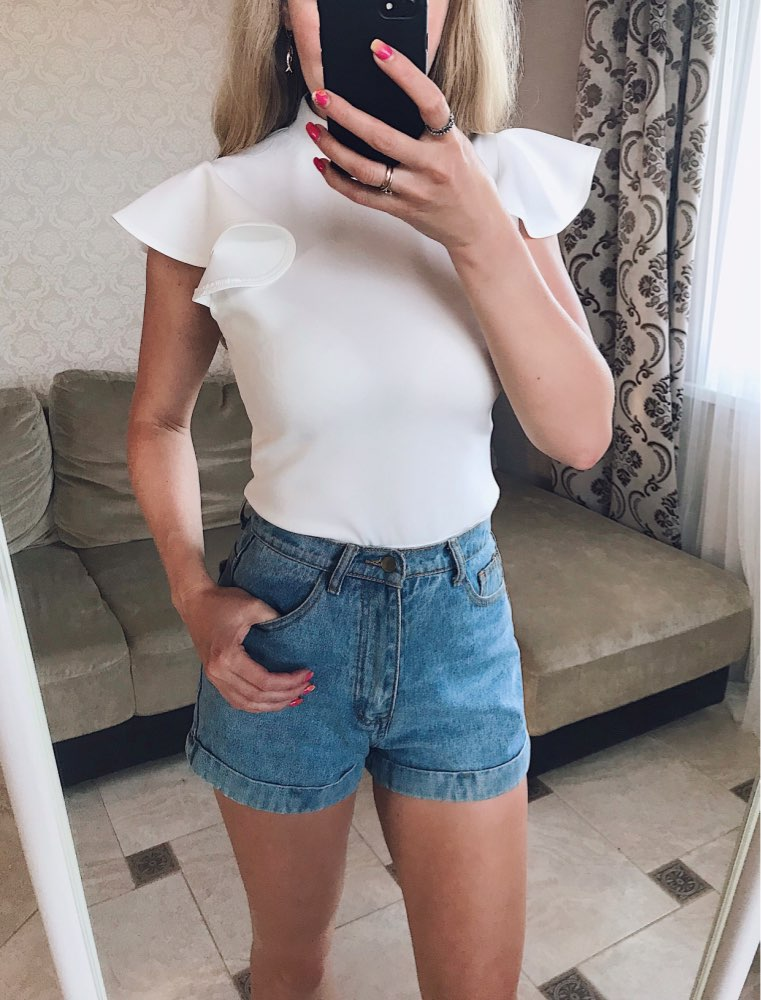 White Mock Neck Ruffle Armhole Slim Fitted Skinny Elegant Basic Bodysuit Women Summer Zipper Office Bodysuits photo review