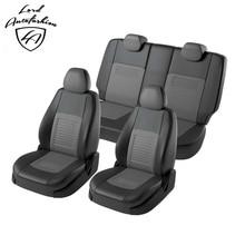 Для Volkswagen Polo седан 2009-2019 Комплект модельных авточехлов из экокожи с РАЗДЕЛЬНОЙ задней спинкой 60/40 (Модель Турин)