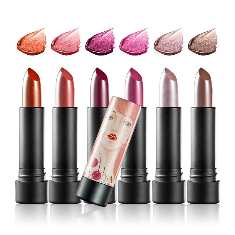 Huamianli 6pcs/pack Diamond Shining Ryukin Pearly-luster Velvet Matte Long-lasting Moisturizing Lipstick Illustration KH001