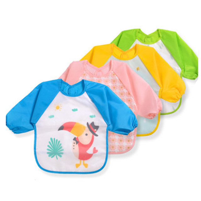 Long Sleeve Baby Bibs Waterproof Infant Burp Cloths Toddler Feeding Smock Coverall Baby Eating Apron Clothing Accessories