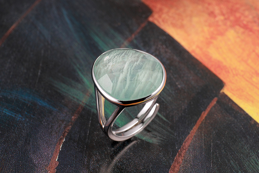 Image 4 - DORMITH real 925 sterling silver gemstone rings natural amazonite rings for women Jewelry rings size can be rejustablering forrings for womenring ring -