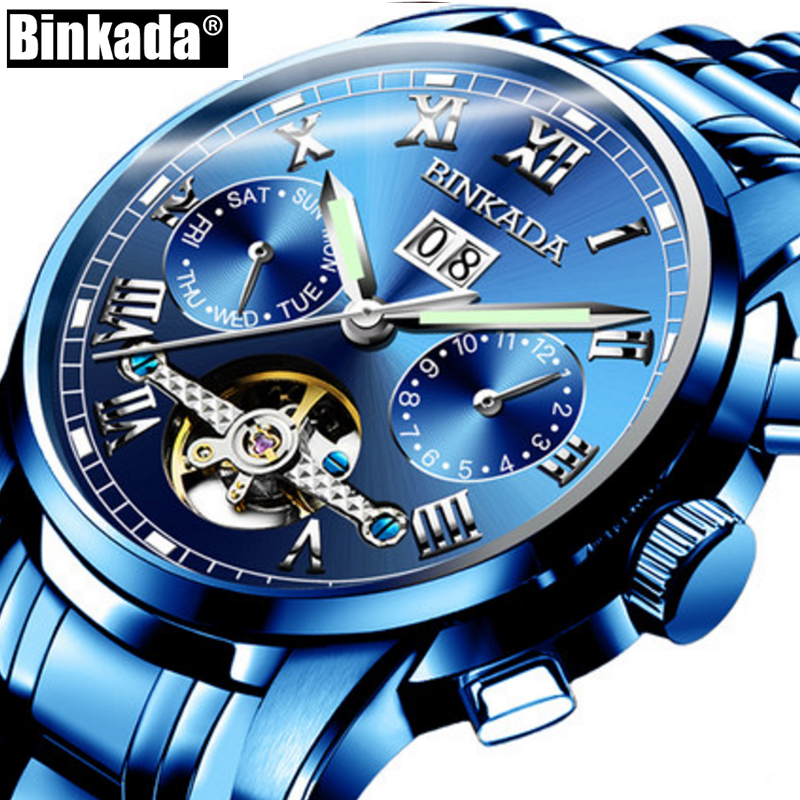 Blue Mechanical Watches BINKADA Mens Skeleton Tourbillon Automatic Watch Men Steel Calendar Waterproof Relojes Hombre binkada men watch automatic mechanical full steel watches date calendar water resistant watch