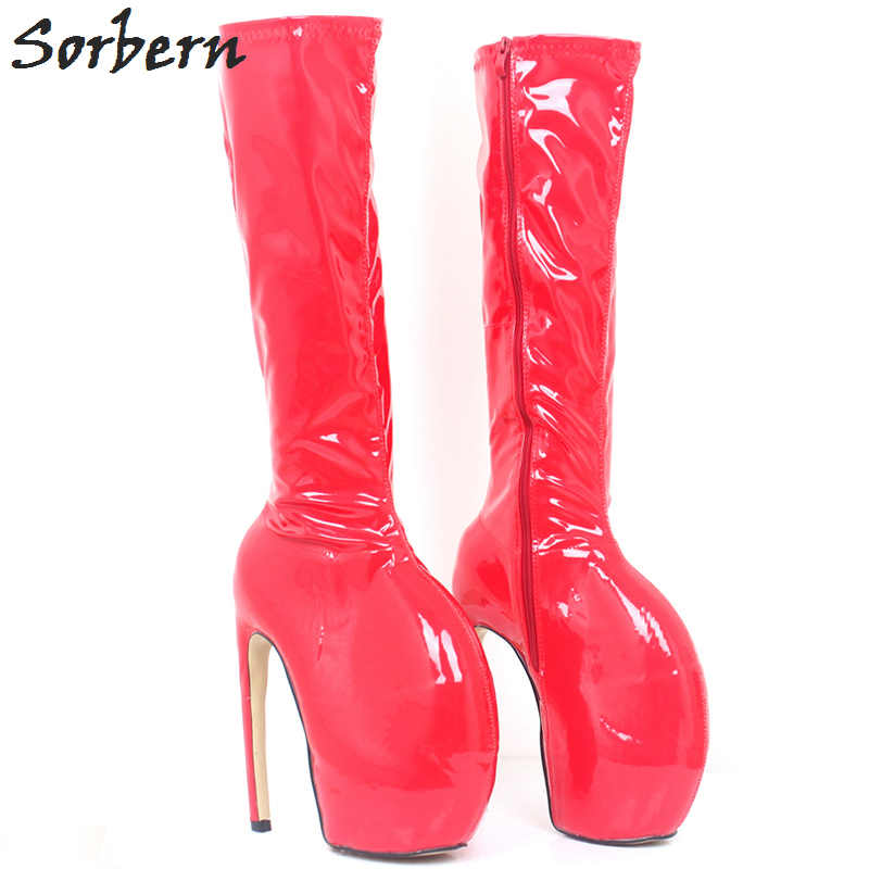 4f6eb54df1 Sorbern Fashion Red Shiny Lady Gaga Women Boots 18Cm Extreme High Heels  Knee High Boots Ladies