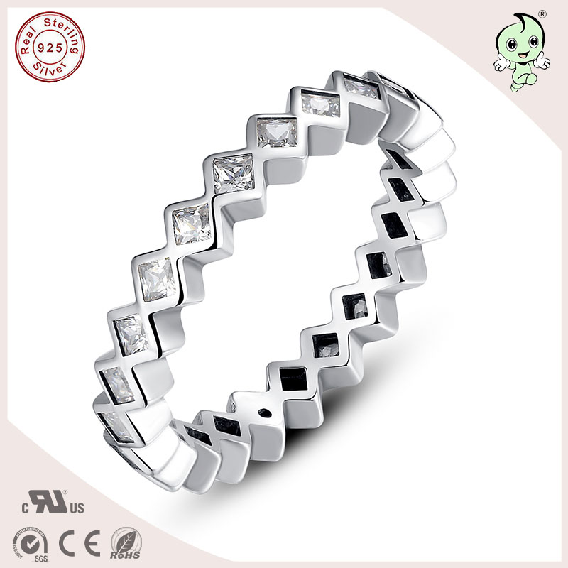 P&R products Hot Sale Genuine 925 Sterling Silver Small Rhombic Stones Rings for women