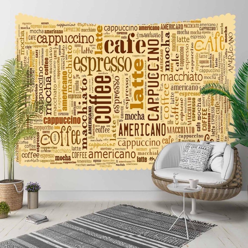 Autre jaune brun café Latte écriture cuisine 3D impression décorative Hippi bohème tenture murale paysage tapisserie mur Art