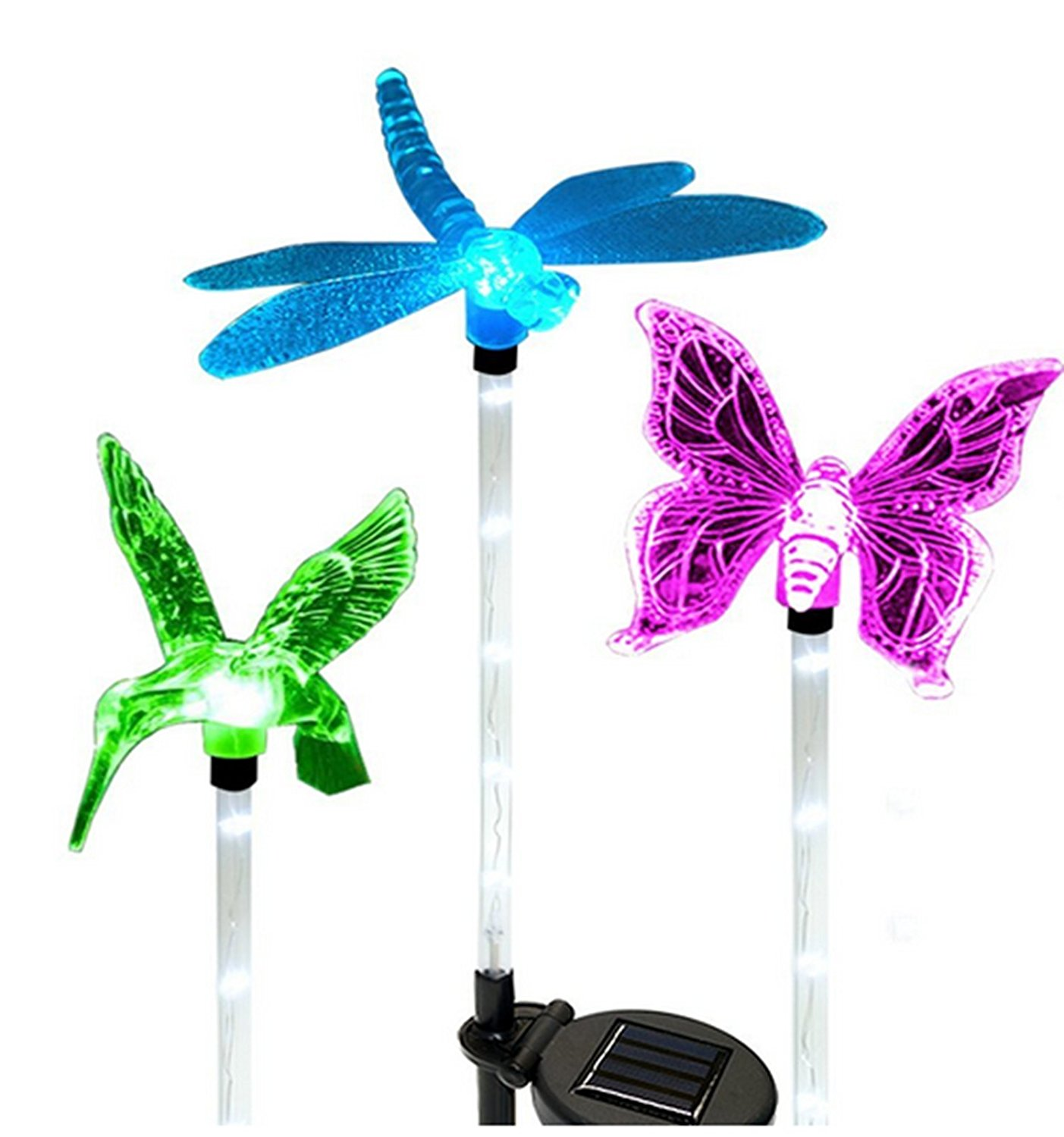 Gentil Solar Powered Garden Lights, Kohree Solar Garden Stake Light, Multi Color,  Hummingbird, Butterfly U0026 Dragonfly (3 Pack)