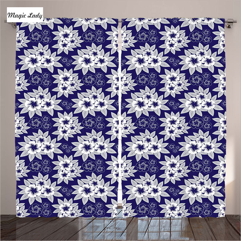 Blackout Curtains Living Room Bedroom Authentic Floral Patterns Nature Artsy Illustration Navy