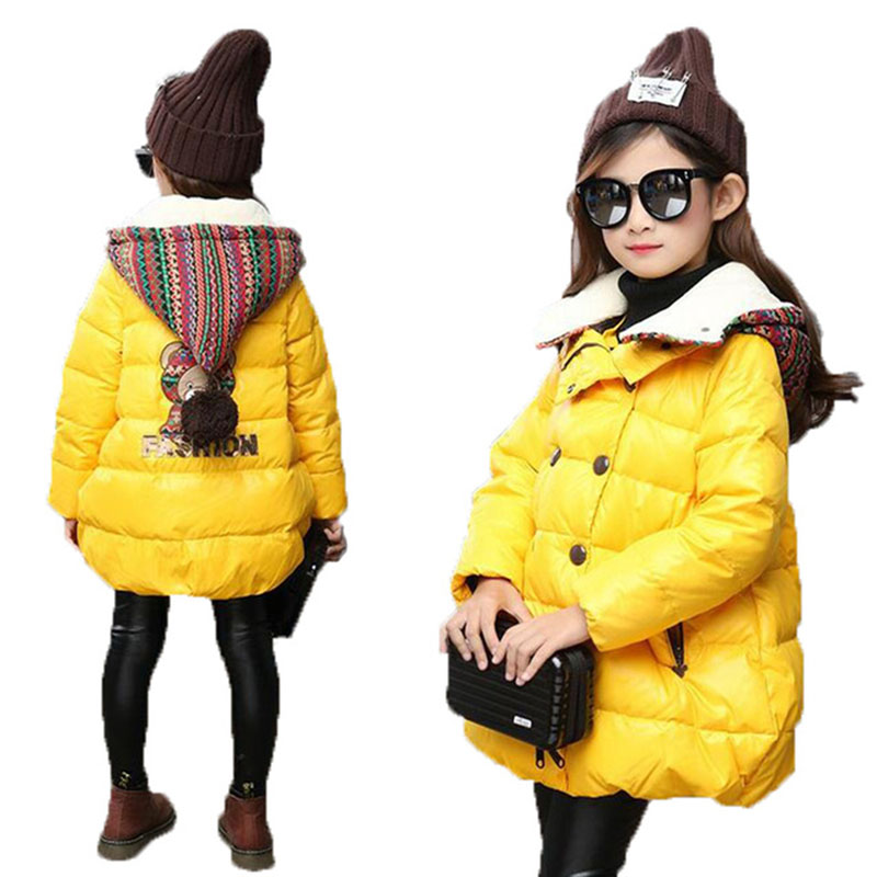 Free delivery girl winter cute pattern thick warm coat cartoon wool hat baby jacket coat jacket warm clothes children park4-15Y6 skullies beanies newborn cute winter kids baby hats knitted pom pom hat wool hemming hat drop shipping high quality s30