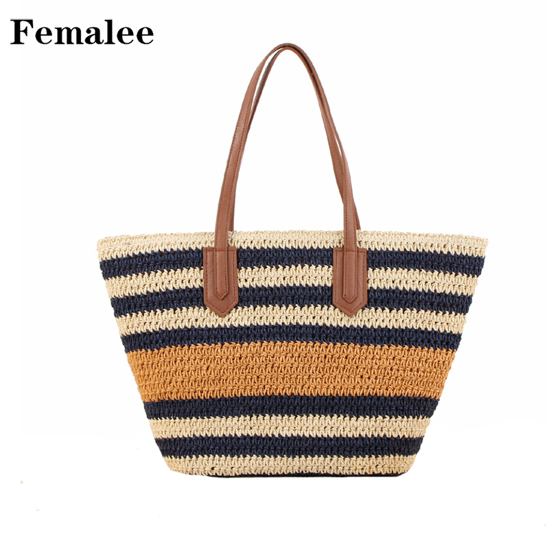 FEMALEE Retro Vintage Striped Straw Bag Summer Travel Shoulder Bags Beach Casual Tote Bag Rattan Woven Holiday Women Handbag wegogo women handbag new thailand straw bag ladies travel holiday summer beach bohemian boho weaving woven straw tote bag