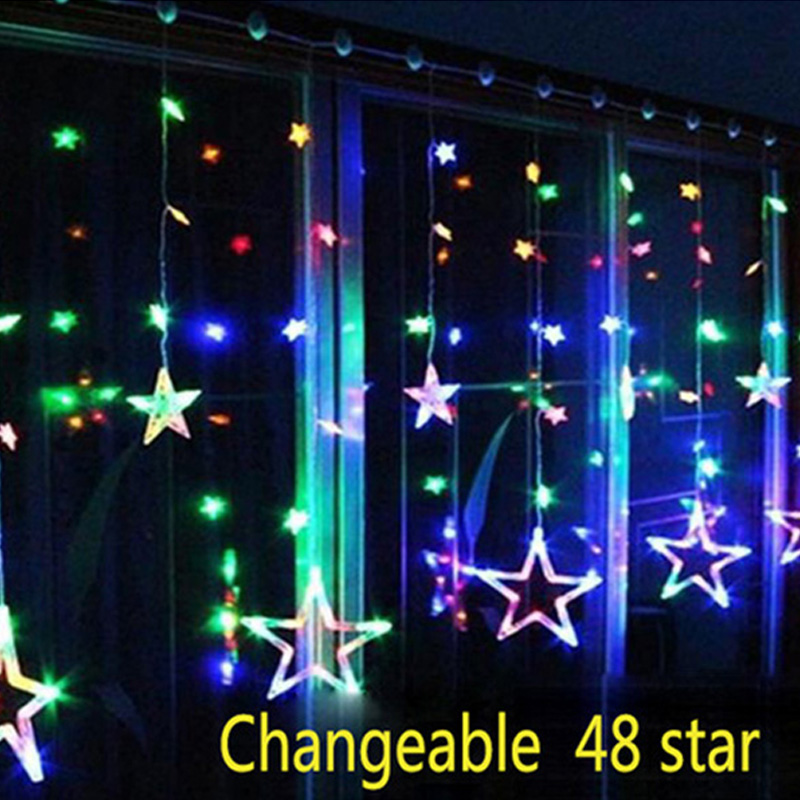 2M Christmas LED Lights AC 110-220V Romantic Fairy Star Curtain String Lighting For Holiday Wedding Garland Party Decoration