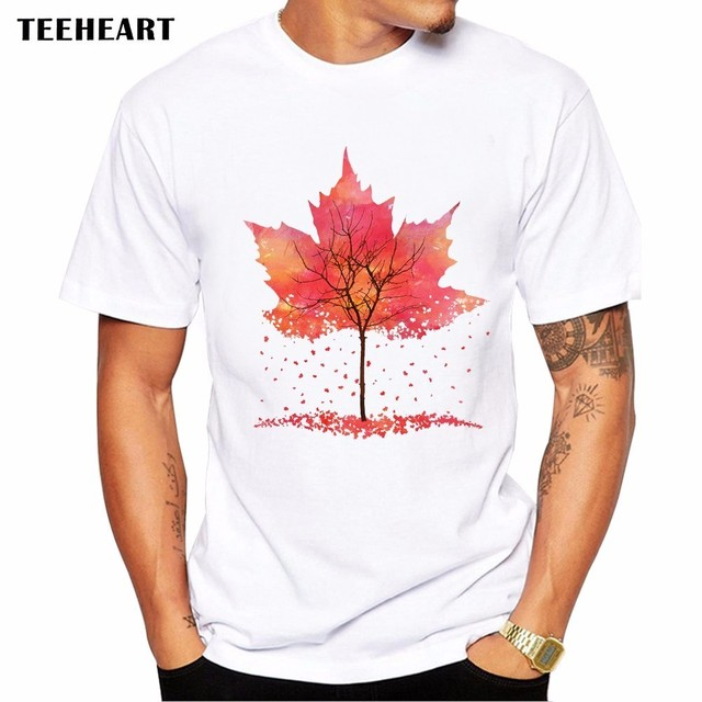 7e761429afc 2017 Summer Maple Leaf Fall Design T Shirt Men's High Quality Artistic  Printed Tops Hipster Tees