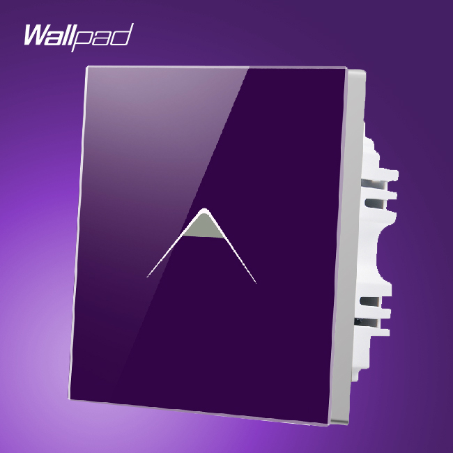 New Arrival Wallpad UK 110V-250V 1 Gang 1 Way Purple Crystal Glass Luxury Touch Wall Switch Panel,Free Shipping wallpad 13a uk socket luxury hotel black crystal glass 86 size 13a uk standard wall socket free shipping