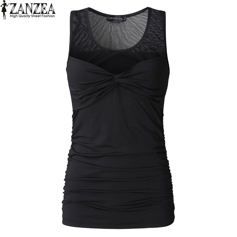 ZANZEA Women Crewneck Sleeveless Stretch Tank Tops Vest Front Plunge Mesh See-through Sl ...