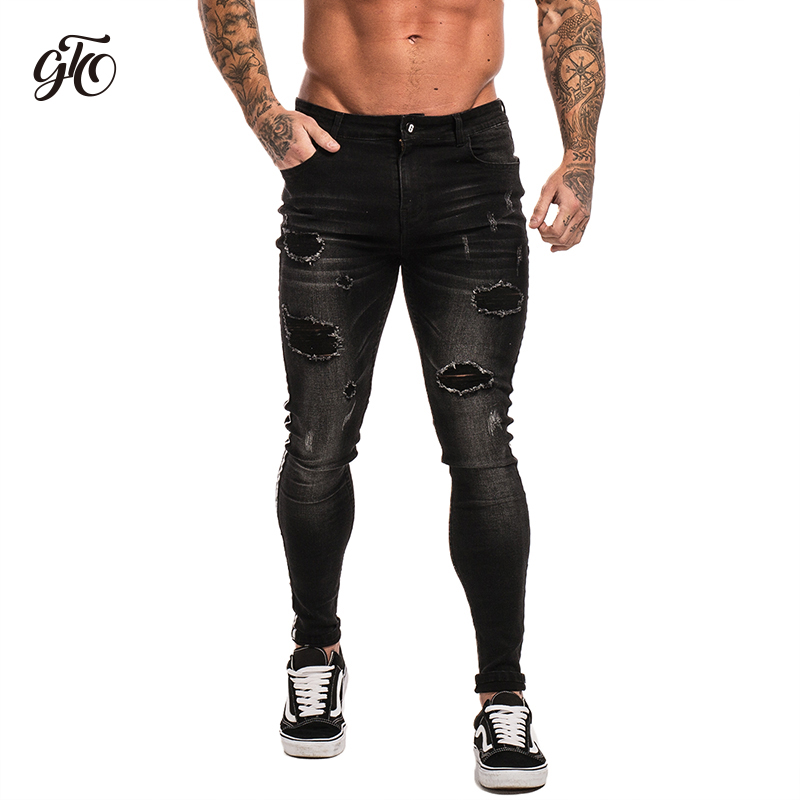 9bf72490750 Купить Gingtto обтягивающие джинсы для Для мужчин черные джинсы Distressed  Stretch Slim Fit джинсы большой Размеры ботильоны плотного хлопка спандекс  рваные ...