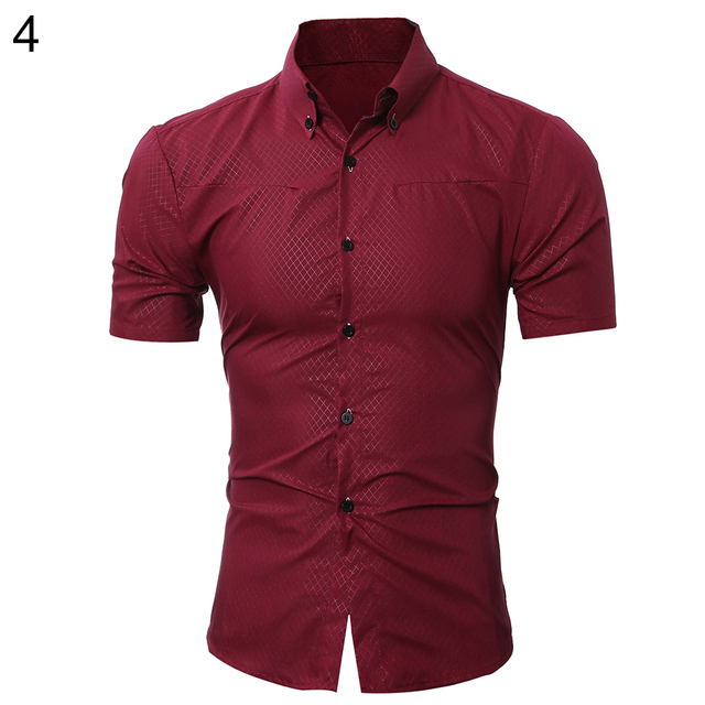 1bf08d1fbcf Men s Stylish Casual Slim Fit Checked Print Summer Short Sleeve Button Down  Shirt