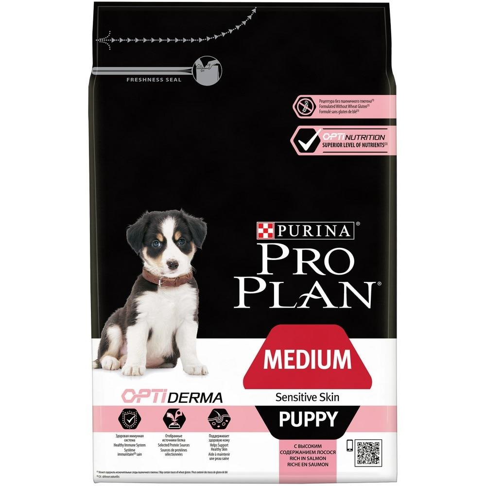 Dog Food Pro Plan Medium Puppy Sensitive Skin medium breed puppy food with sensitive skin, Salmon, 3 kg. gina elite large breed puppy salmon