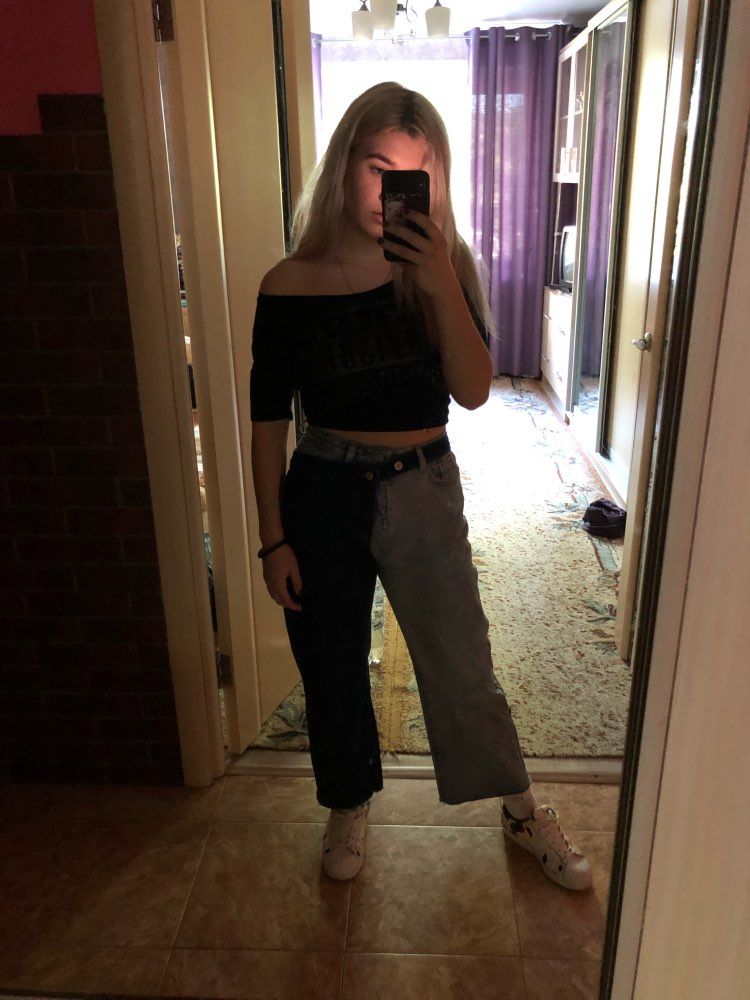 Summer Spring Fashion High Waist Patchwork Contrast Color Detachable Jeans Straight Denim Pants Women photo review