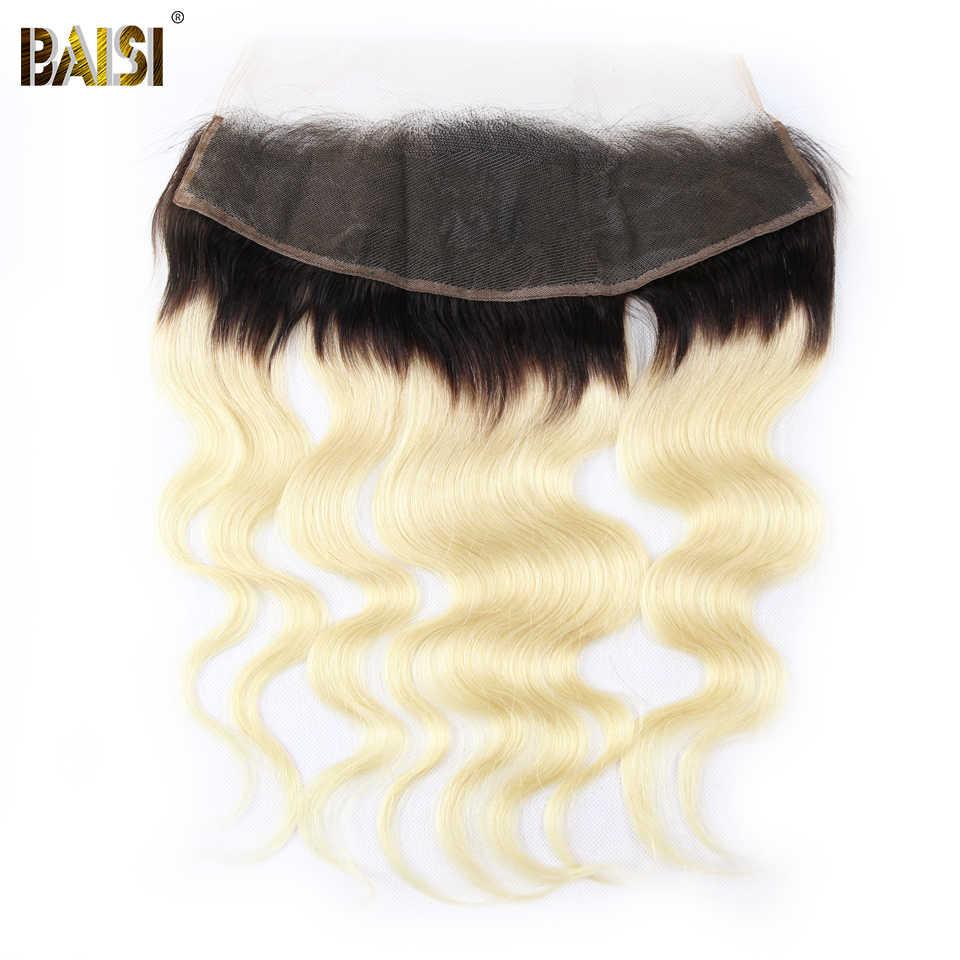 BAISI Haar Peruanische Reine Haar Körper Welle Menschliches Haar 3 Bundles mit Transparent Spitze Frontal 100% Menschliches Haar